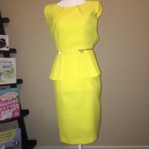 6edb1cb48cb ANTONIO MELANI Dresses - Antonio Melani yellow Peplum Sheath Dress